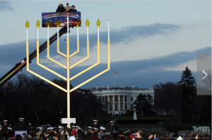"The ""National Menorah""--a symbol of conquest at a time when a nativity scene on Federal property is illegal."